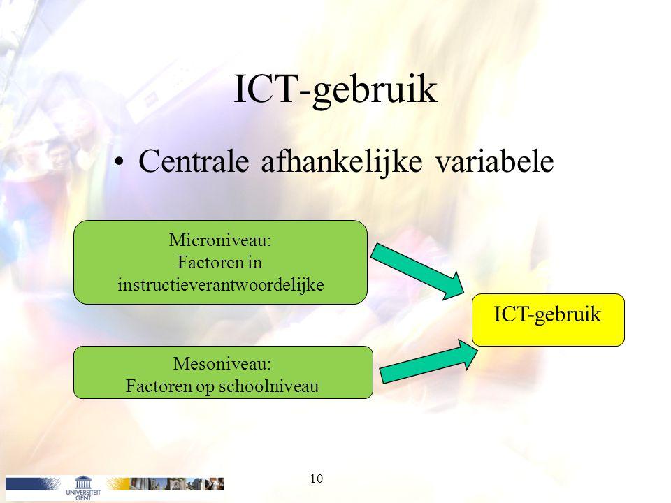 ICT-gebruik Centrale afhankelijke variabele ICT-gebruik Microniveau: