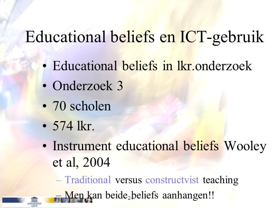 Educational beliefs en ICT-gebruik