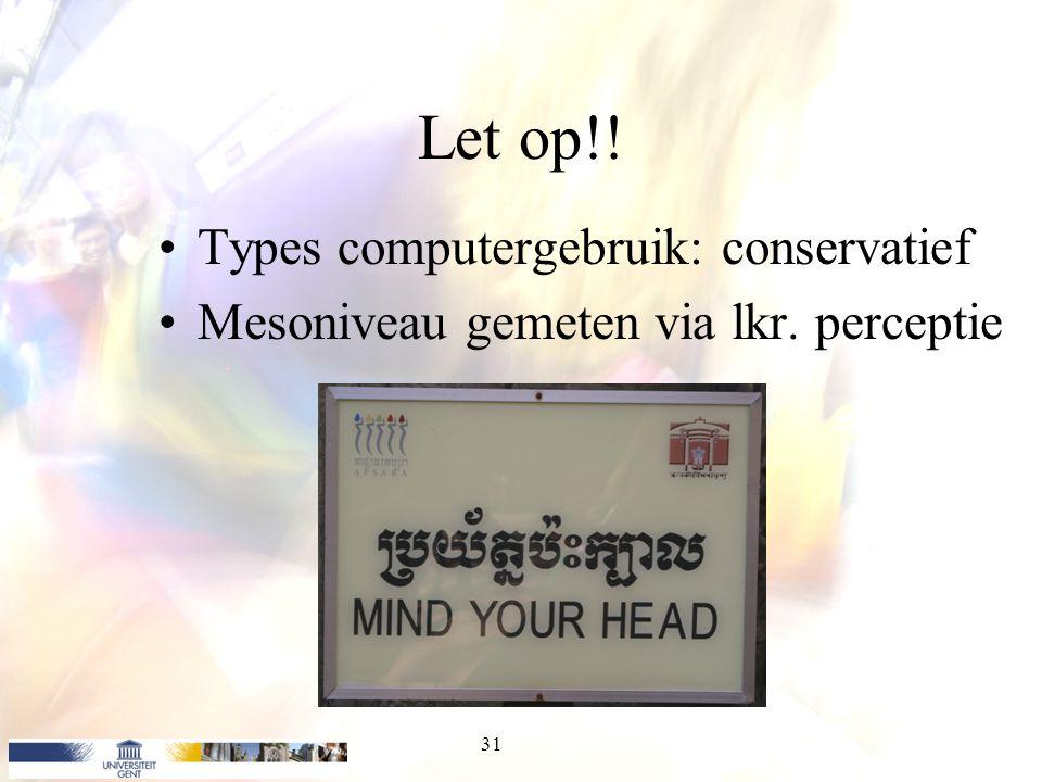 Let op!! Types computergebruik: conservatief