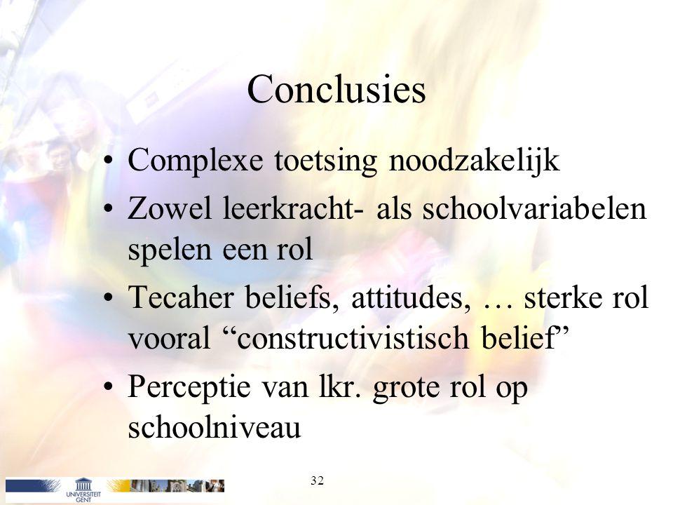 Conclusies Complexe toetsing noodzakelijk