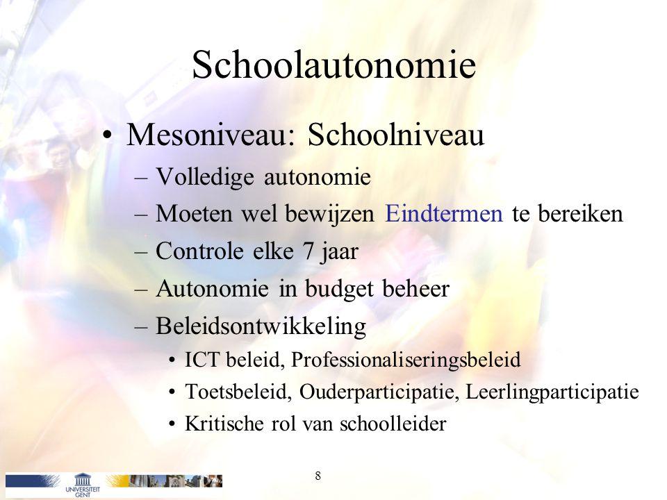 Schoolautonomie Mesoniveau: Schoolniveau Volledige autonomie