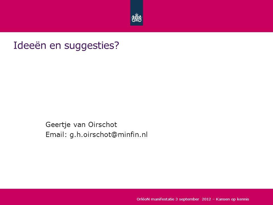 Ideeën en suggesties Geertje van Oirschot