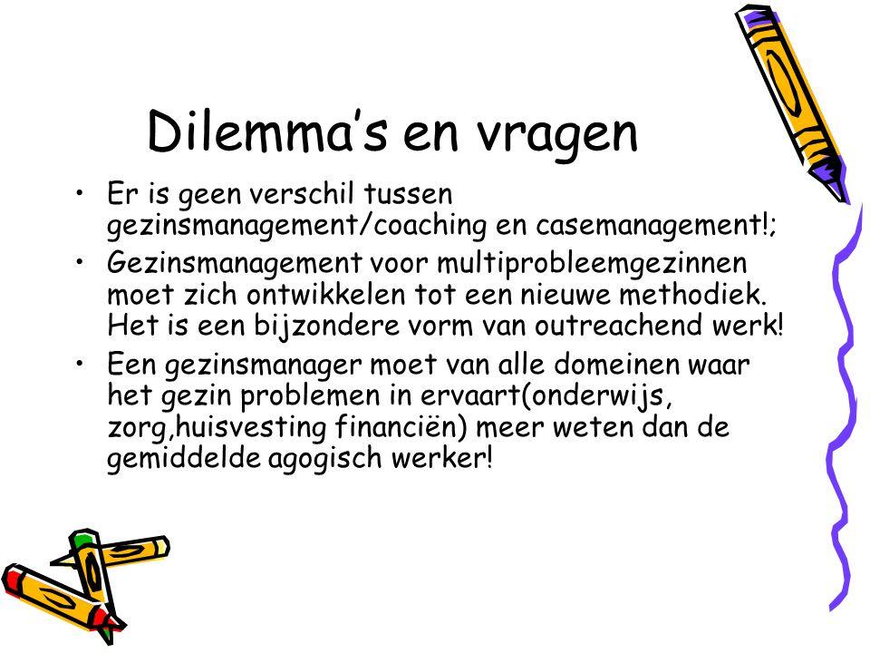 Dilemma's en vragen Er is geen verschil tussen gezinsmanagement/coaching en casemanagement!;