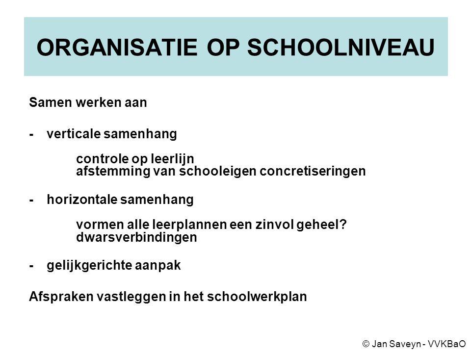 ORGANISATIE OP SCHOOLNIVEAU