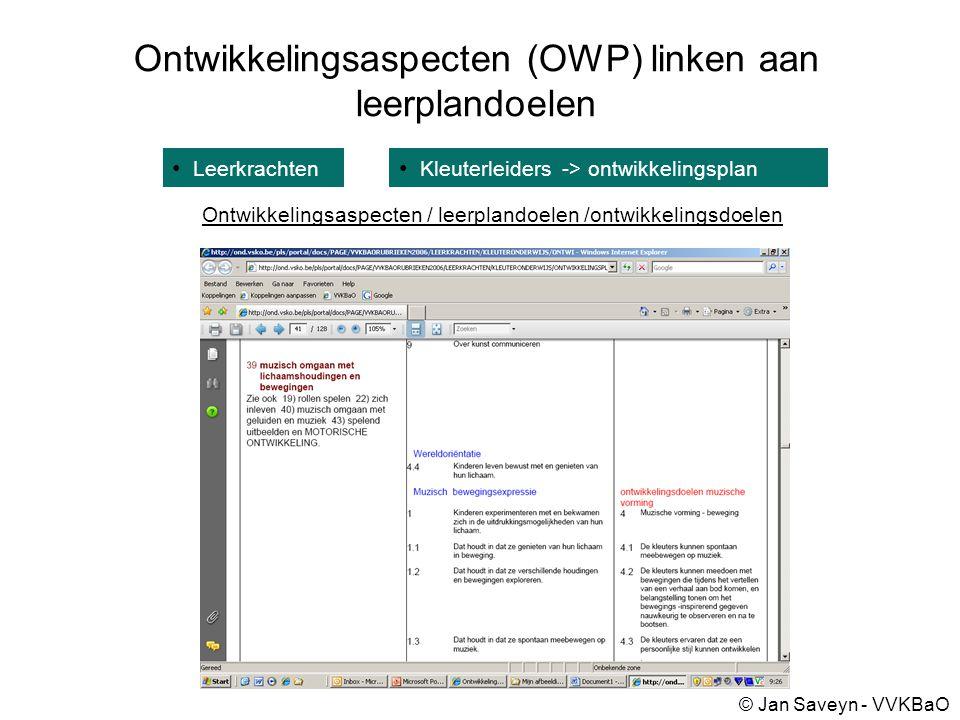 Ontwikkelingsaspecten (OWP) linken aan leerplandoelen