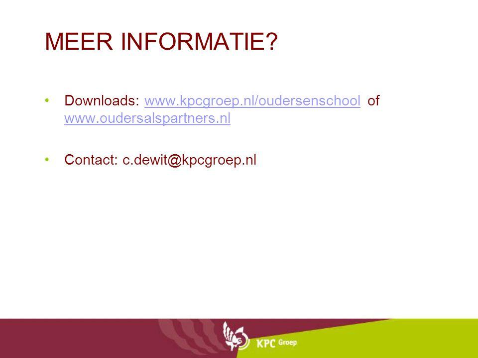 MEER INFORMATIE. Downloads: www.kpcgroep.nl/oudersenschool of www.oudersalspartners.nl.