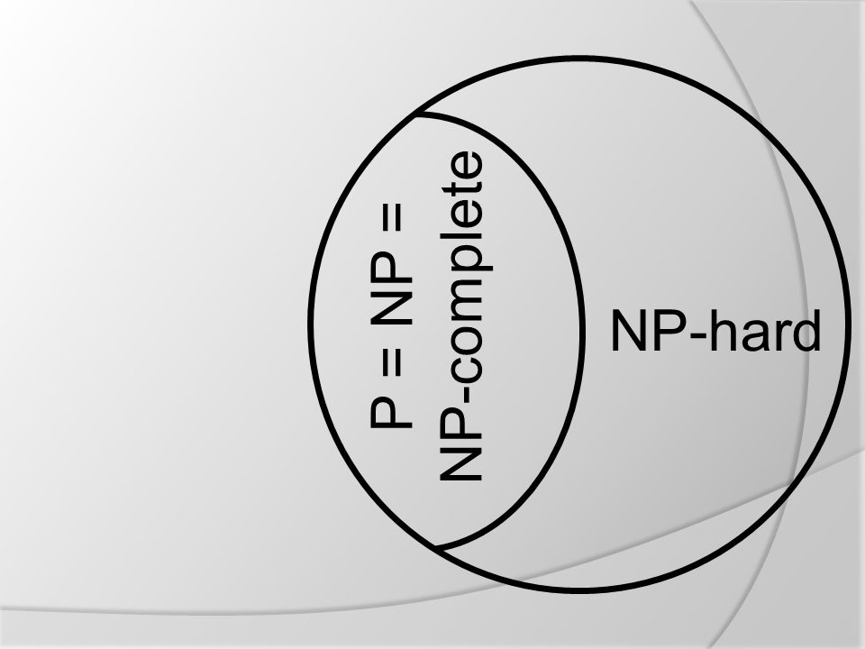 NP-complete P = NP = NP-hard