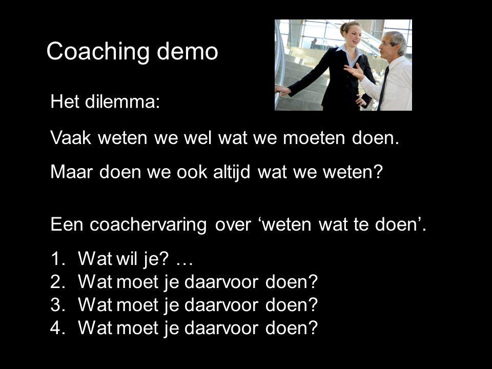 Coaching demo Het dilemma: Vaak weten we wel wat we moeten doen.