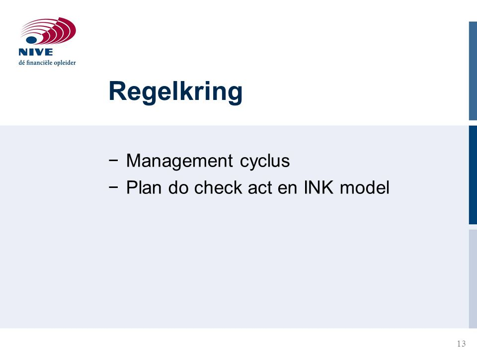 Regelkring Management cyclus Plan do check act en INK model