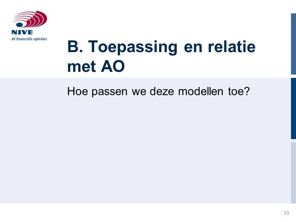B. Toepassing en relatie met AO