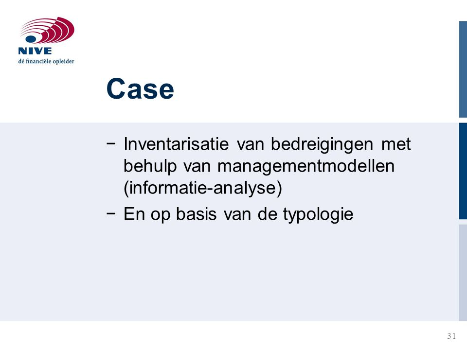 Case Inventarisatie van bedreigingen met behulp van managementmodellen (informatie-analyse) En op basis van de typologie.