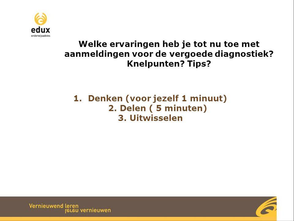 Denken (voor jezelf 1 minuut) 2. Delen ( 5 minuten)