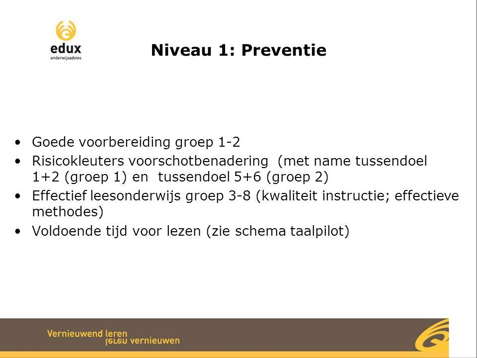 Niveau 1: Preventie Goede voorbereiding groep 1-2