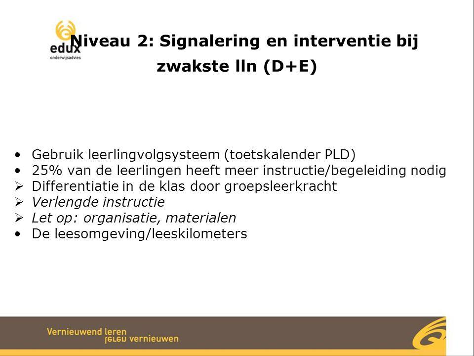 Niveau 2: Signalering en interventie bij zwakste lln (D+E)