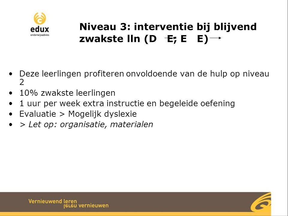 Niveau 3: interventie bij blijvend zwakste lln (D E; E E)