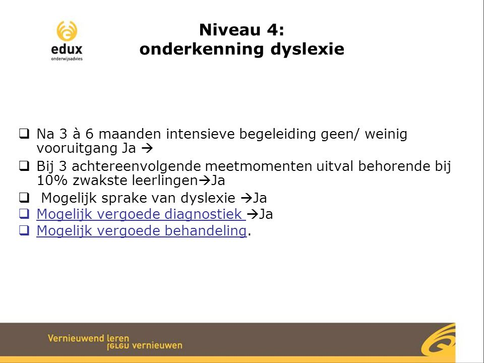 Niveau 4: onderkenning dyslexie