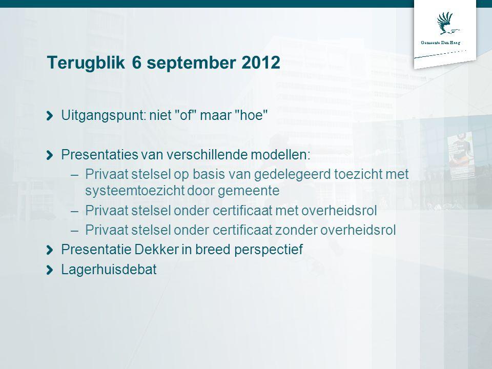 Terugblik 6 september 2012 Uitgangspunt: niet of maar hoe