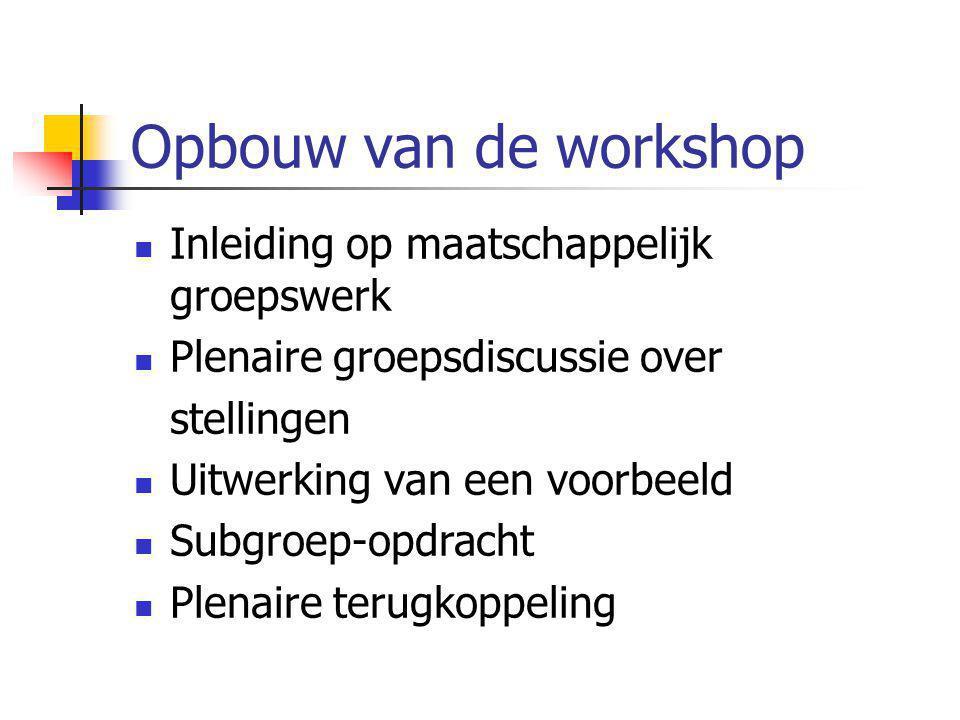 Opbouw van de workshop Inleiding op maatschappelijk groepswerk