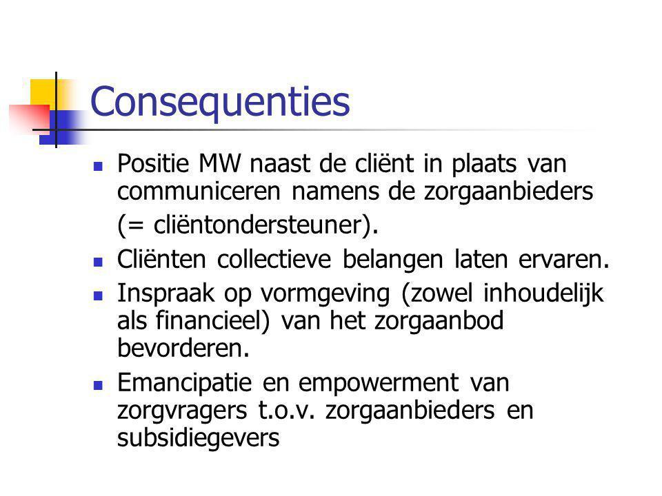 Consequenties Positie MW naast de cliënt in plaats van communiceren namens de zorgaanbieders. (= cliëntondersteuner).