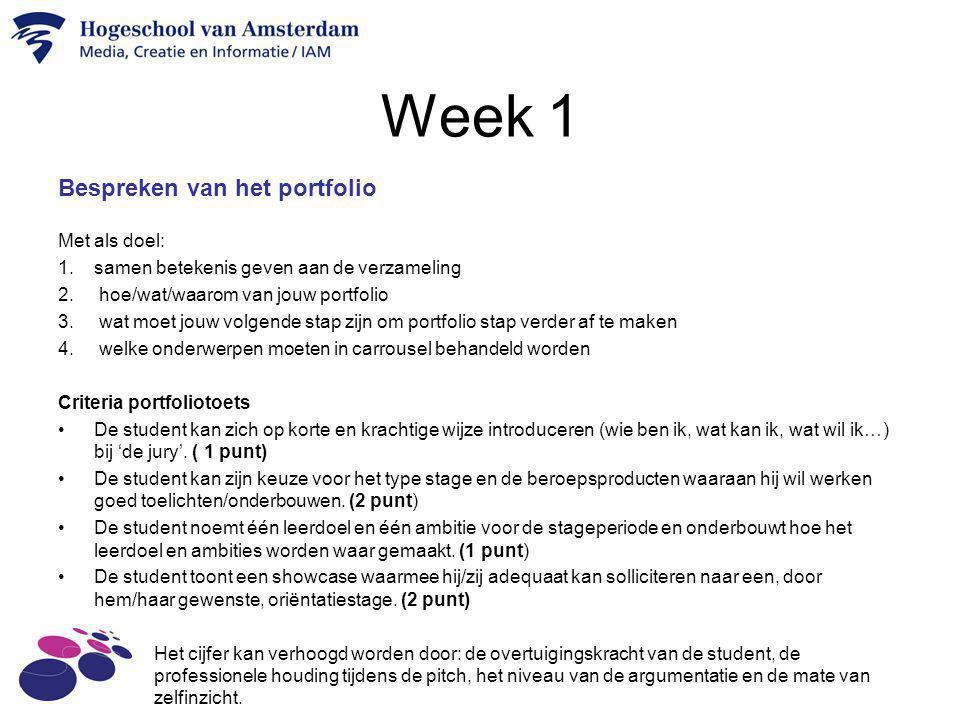 Week 1 Bespreken van het portfolio Met als doel: