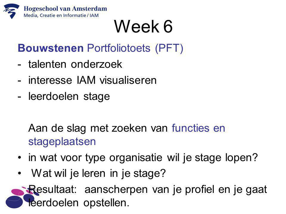 Week 6 Bouwstenen Portfoliotoets (PFT) talenten onderzoek