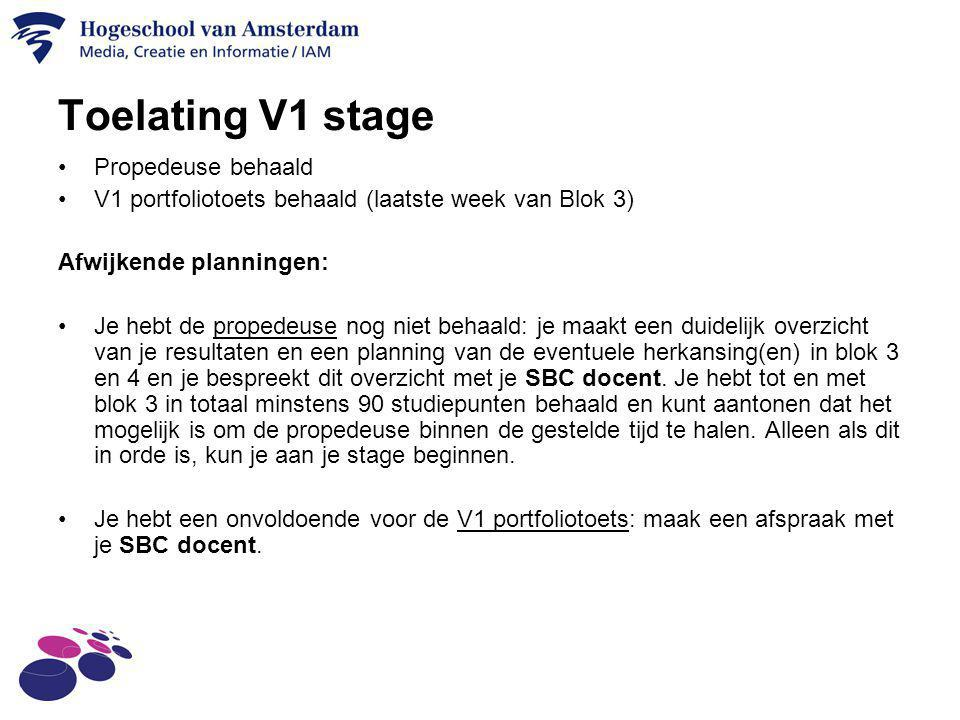 Toelating V1 stage Propedeuse behaald