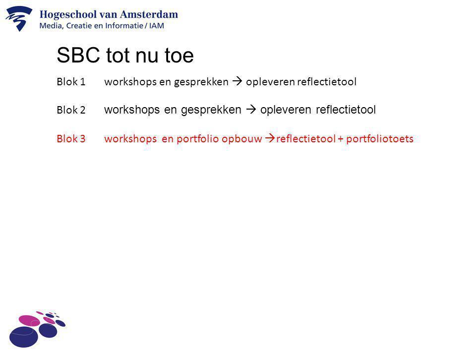 SBC tot nu toe Blok 1 workshops en gesprekken  opleveren reflectietool. Blok 2 workshops en gesprekken  opleveren reflectietool.