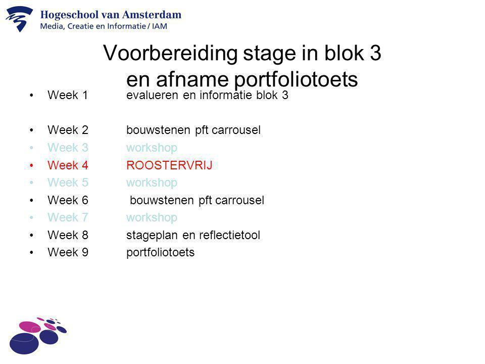 Voorbereiding stage in blok 3 en afname portfoliotoets