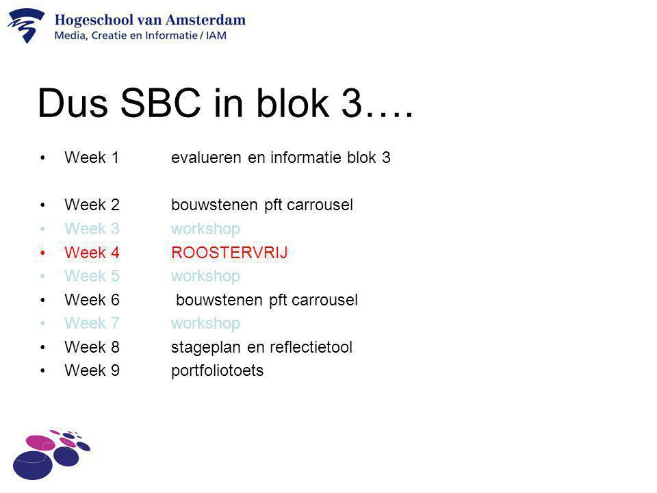 Dus SBC in blok 3…. Week 1 evalueren en informatie blok 3