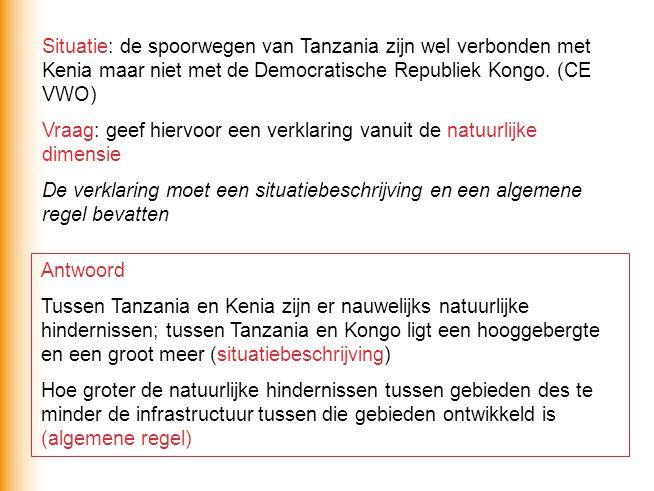 Situatie: de spoorwegen van Tanzania zijn wel verbonden met Kenia maar niet met de Democratische Republiek Kongo. (CE VWO)