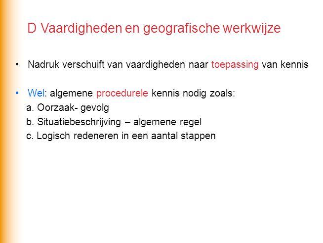 D Vaardigheden en geografische werkwijze