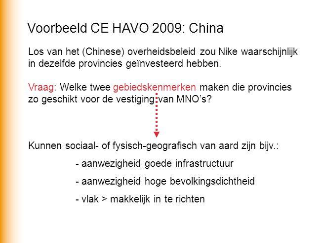 Voorbeeld CE HAVO 2009: China