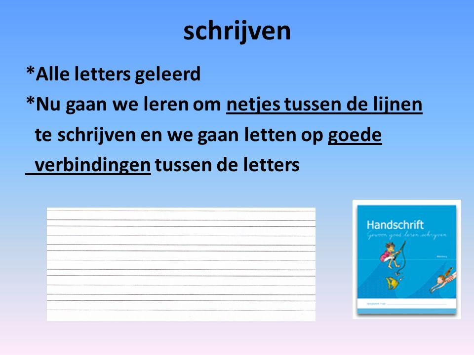 schrijven *Alle letters geleerd *Nu gaan we leren om netjes tussen de lijnen te schrijven en we gaan letten op goede verbindingen tussen de letters
