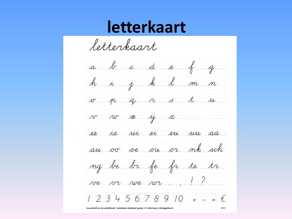 letterkaart AL ONZE LETTERS OP EEN RIJ, vooral verbindingen van letter naar letter is lastig