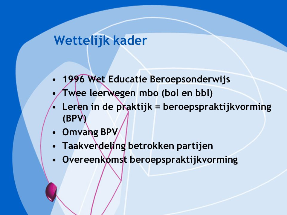 Wettelijk kader 1996 Wet Educatie Beroepsonderwijs
