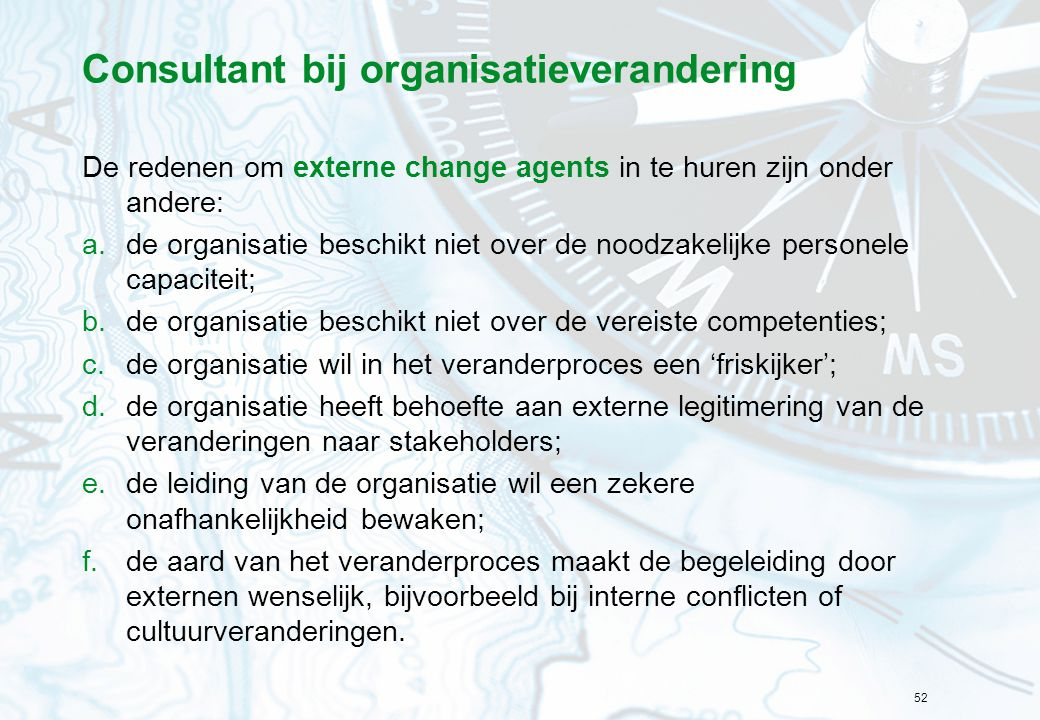 Consultant bij organisatieverandering