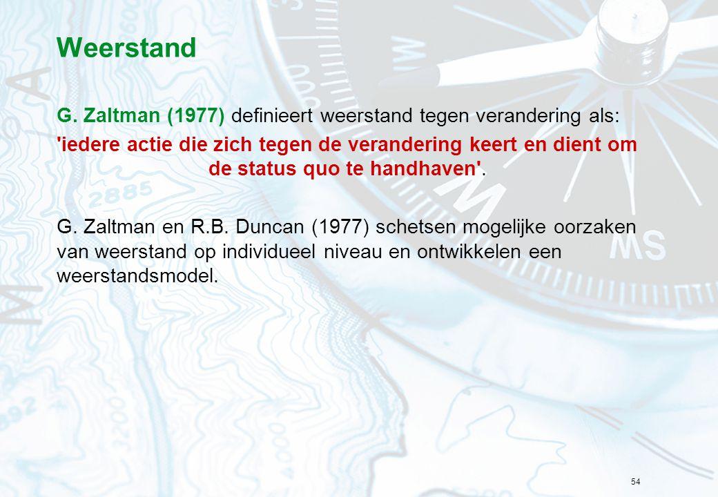 Weerstand G. Zaltman (1977) definieert weerstand tegen verandering als:
