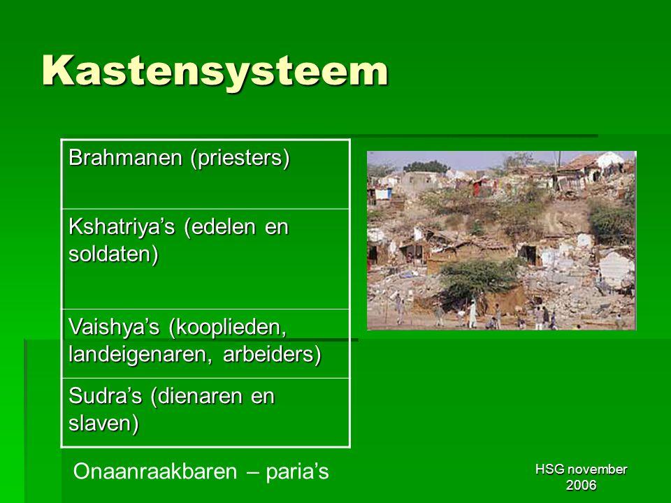 Kastensysteem Brahmanen (priesters) Kshatriya's (edelen en soldaten)
