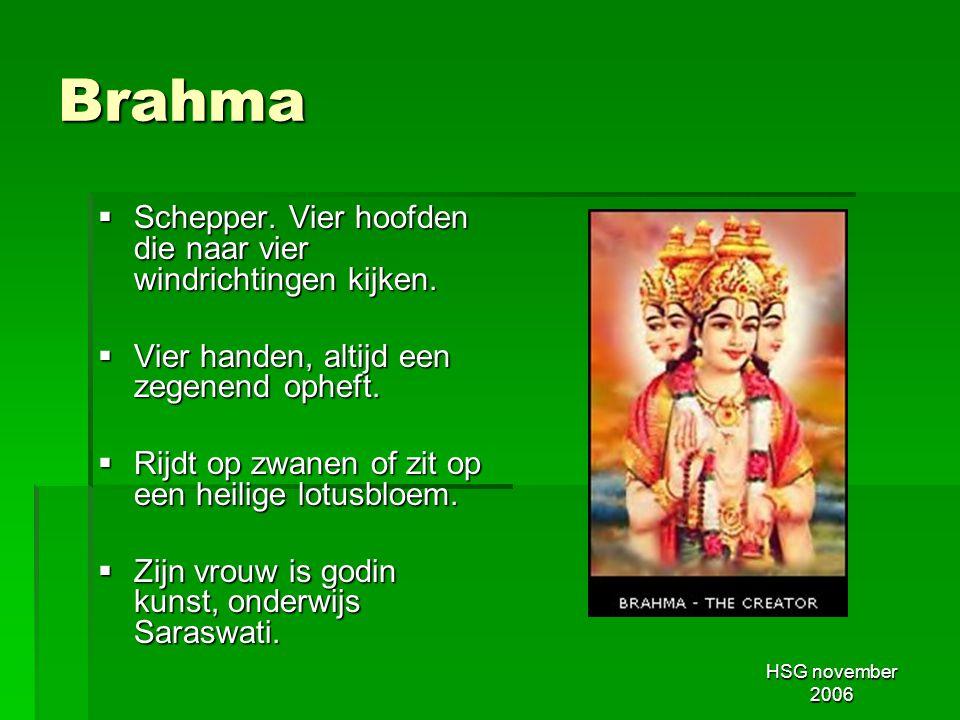 Brahma Schepper. Vier hoofden die naar vier windrichtingen kijken.