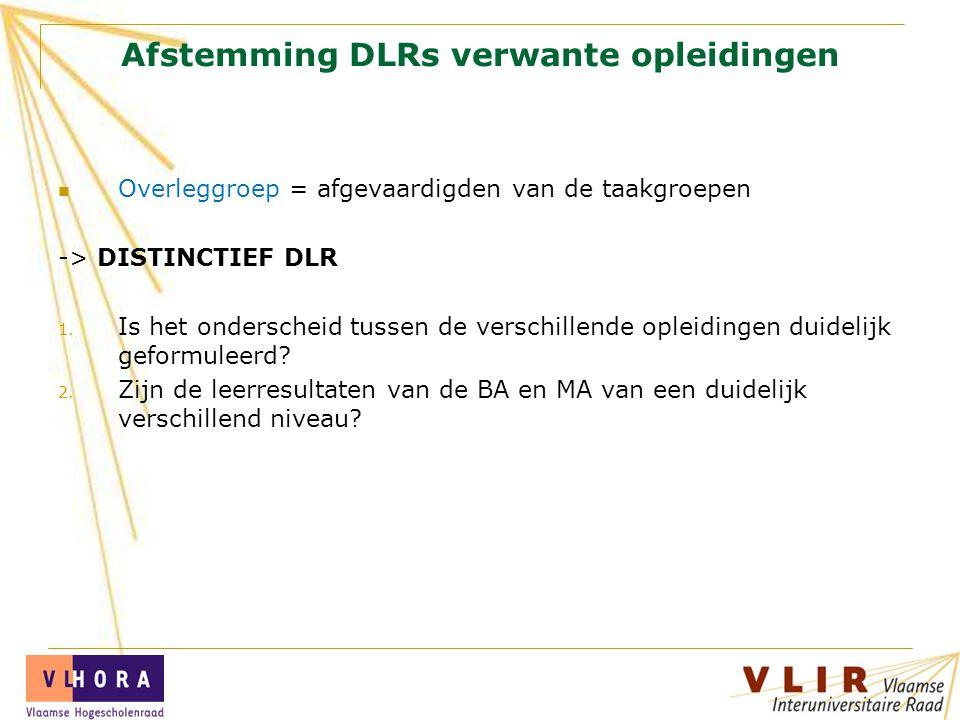 Afstemming DLRs verwante opleidingen