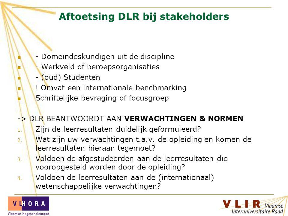 Aftoetsing DLR bij stakeholders