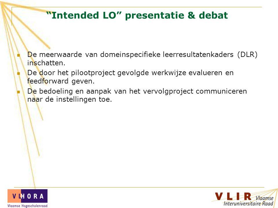 Intended LO presentatie & debat