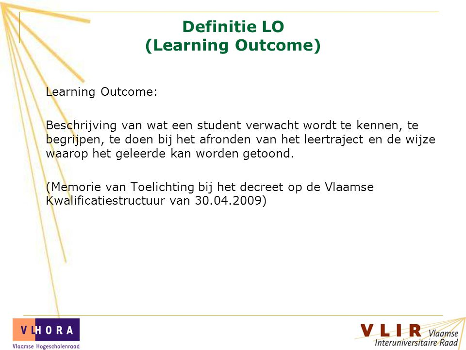 Definitie LO (Learning Outcome)