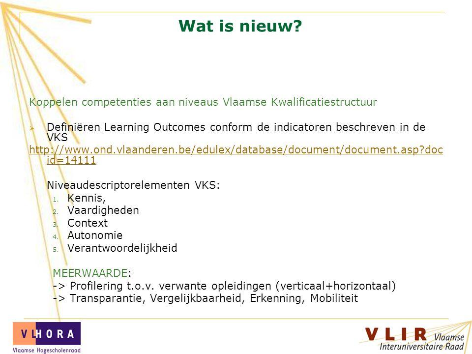 Wat is nieuw Koppelen competenties aan niveaus Vlaamse Kwalificatiestructuur.