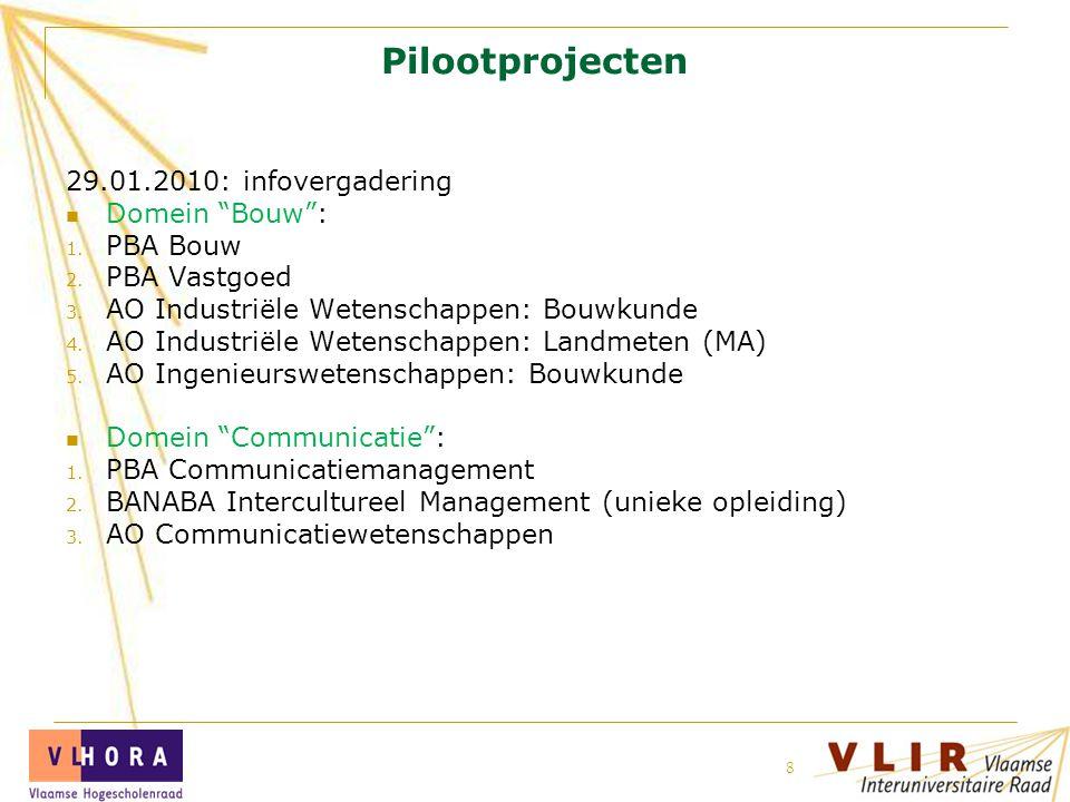 Pilootprojecten 29.01.2010: infovergadering Domein Bouw : PBA Bouw