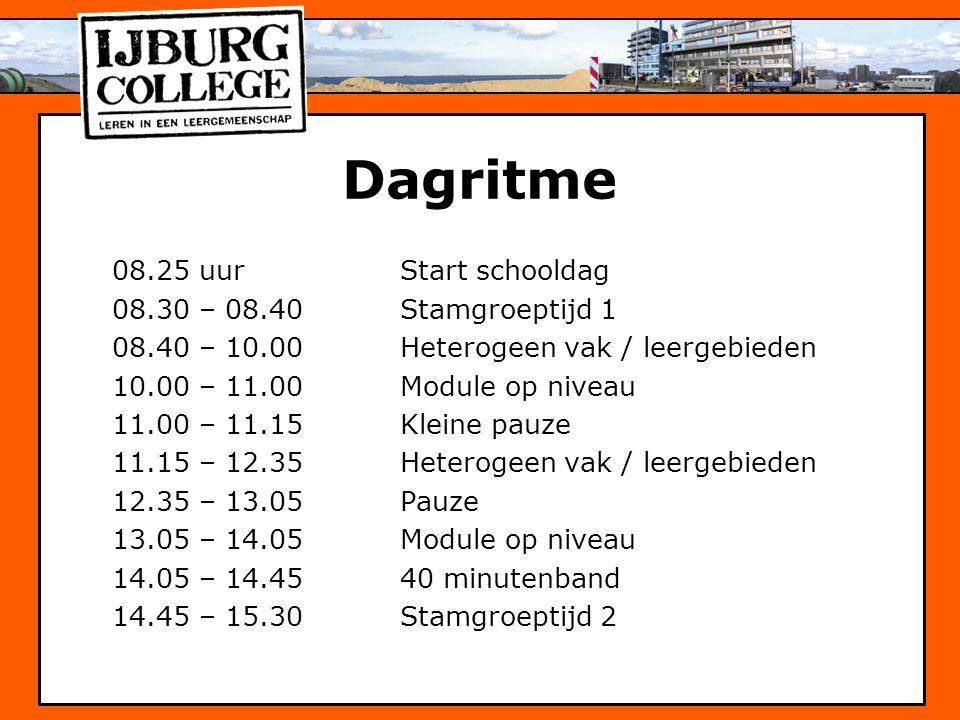 Dagritme 08.25 uur Start schooldag 08.30 – 08.40 Stamgroeptijd 1