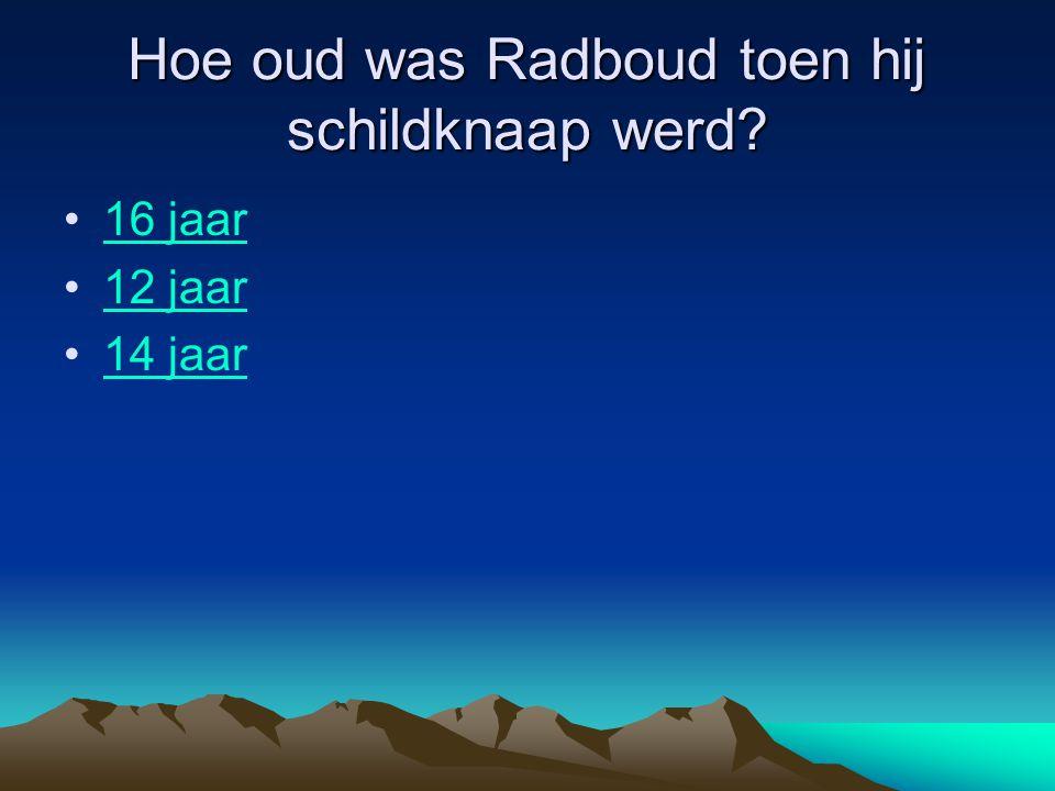 Hoe oud was Radboud toen hij schildknaap werd