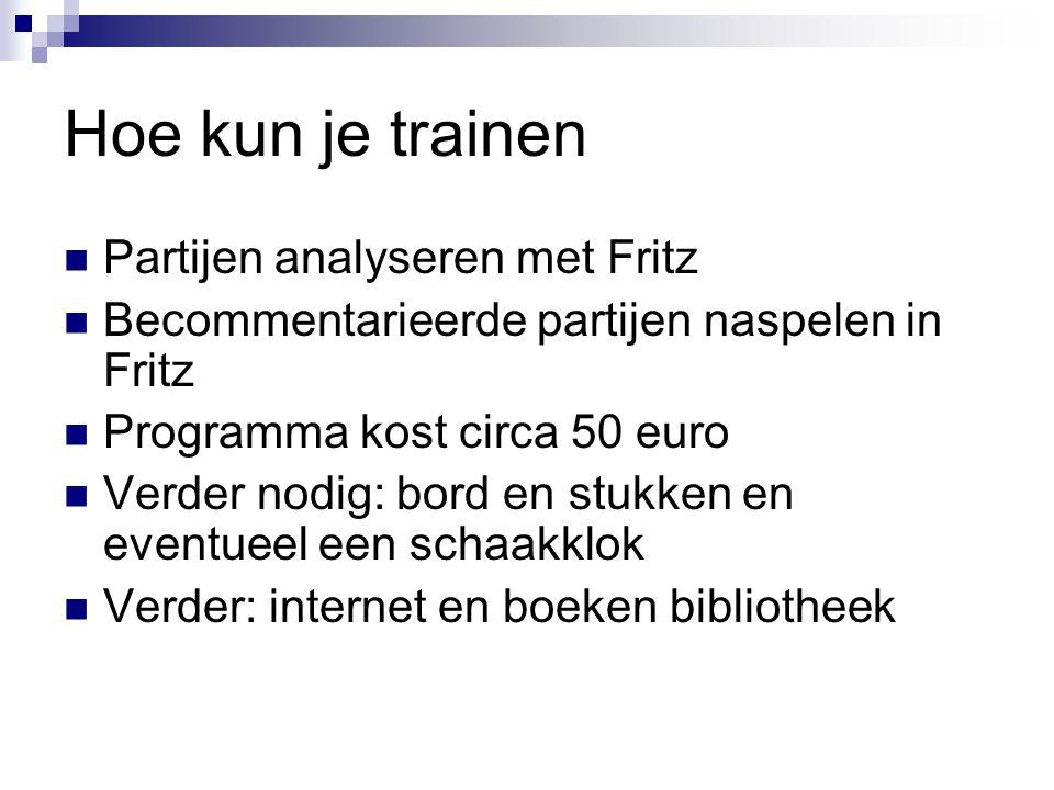 Hoe kun je trainen Partijen analyseren met Fritz