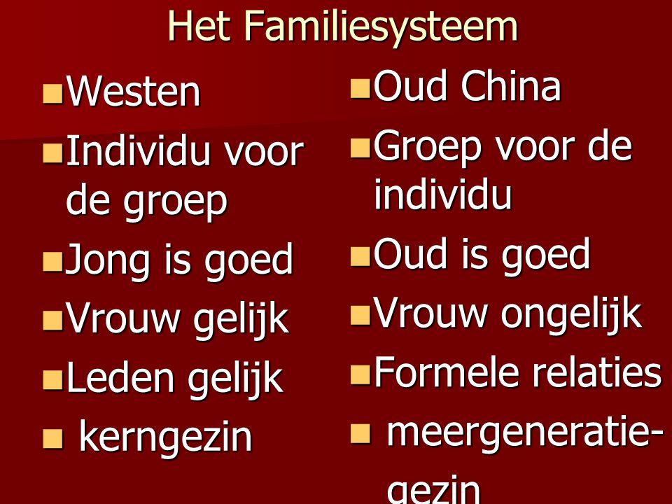 Het Familiesysteem Oud China. Groep voor de individu. Oud is goed. Vrouw ongelijk. Formele relaties.