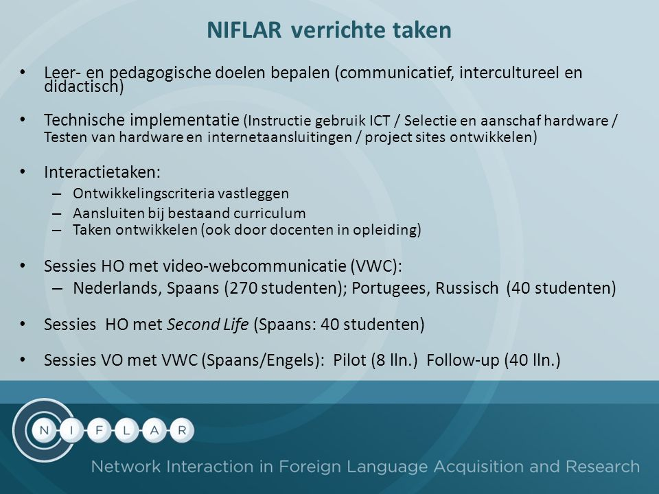 NIFLAR verrichte taken